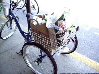 Tricycle basket packed with a week's groceries.