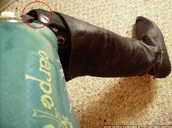 Fabulously glamourous prosthetic leg.