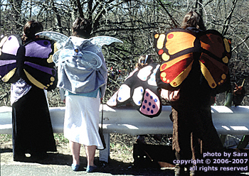 Young women dressed as butterflies watching the ceremony.