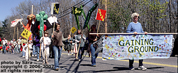 Gaining Ground community farming group in the Musketaquid Festival parade.