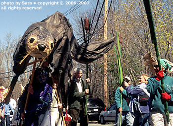 Giant otter puppet.