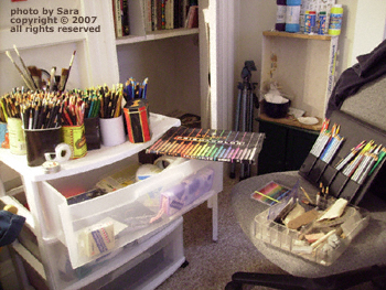 Colors of colored pencils at my disposal ranged about me threateningly.