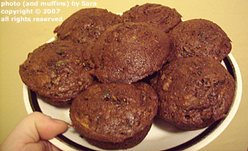 Plate of seven muffins.