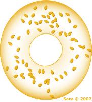 Golden sesame bagel graphic by Sara.