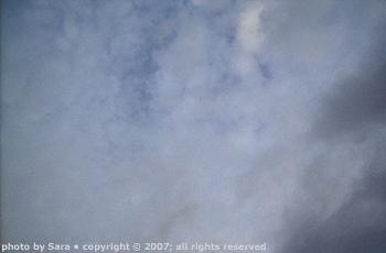Cloudy dusk sky after birds.