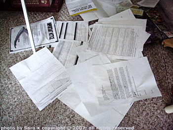 The pile of papers dumped on the floor only shows a couple of creases from the wheels of my chair.