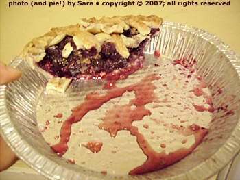 Blueberry pie, almost completely devoured, in juice-stained foil pan.
