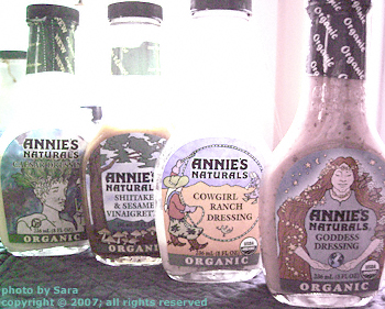 Four organic salad dressings from Annie's Naturals.