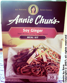 Annie Chun Soy Ginger noodle meal kit box.