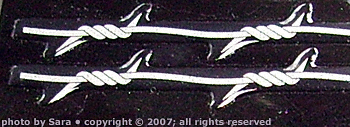 Silver barbed wire sticker, detail.