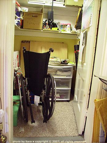 Closet wheelchair.