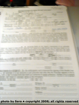 What documents looked like to me with a swollen brain and brain tumor: blurry and double.