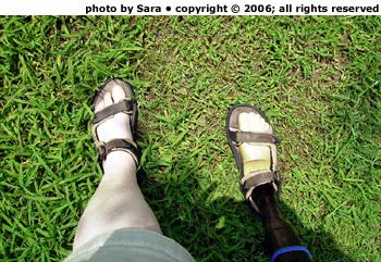 Downhill sideways on grass, organic foot forward -- ouch!