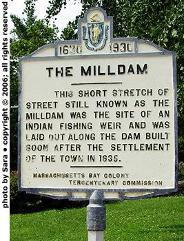Plaque commemorating the Milldam.