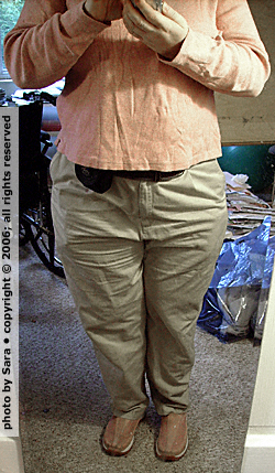 Mirror view of me wearing L. L. Bean comfort waist Bayside Twill pants.