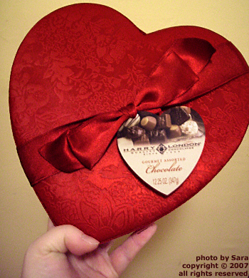 Satin valentine box, about to be plundered.