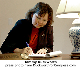 Tammy Duckworth at work, press photo from the Duckworth For Congress site.
