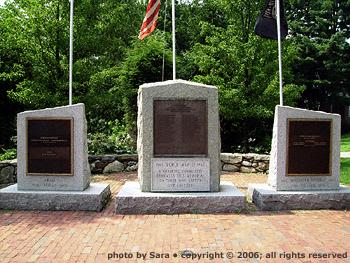 A triptych of war memorials.