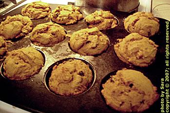 Panful of freshly baked kabocha muffins.