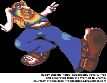 Yes, we're back to this, the happy trucking hippie by R. Crumb.